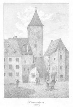 """MÜNCHEN. """"Blauententhurm 1600"""". Mittelalterliche Ansicht.: - Peter Bierl Buch- & Kunstantiquariat"""