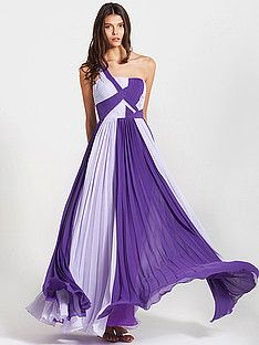 Ruffled and Ruched Two-Tone One Shoulder Dress; Color: Royal Purple; Sizes Available: 2-26W, Custom Size; Fabric: Chiffon
