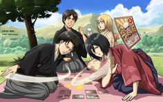 """ Eren, Historia, Levi, & Mikasa for Hangeki no Tsubasa's ""New Year's"" Class! (Source) "" Who will win the karuta match??"