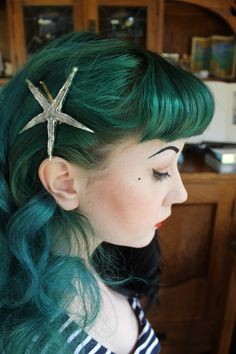 Green and blue hair, Betty Bangs, and Starfish Barrette