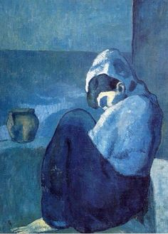 Crouching Woman  Pablo Picasso   1902 Blue Period oil Private Collector