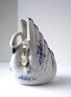 Vintage Delt Blue Swan Porcelain 22K Gold by jpcountrymarket, $19.00