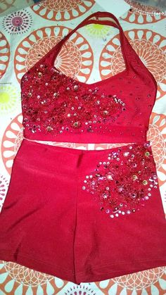 Red Sports Bra and Shorts Dance Bling Glitz by italianmom1104