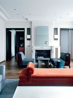 Modern home interiors and design ideas from the best in condos, penthouses and architecture. Plus the finest in home decor and products. Teal Living Rooms, Design Living Room, Living Room Interior, Home And Living, Living Spaces, Apartment Interior, Modern Living, Living Area, French Interior