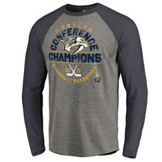 Men's Nashville Predators Fanatics Branded Heather Gray 2017 Western Conference Champions Icing Raglan Long Sleeve T-Shirt