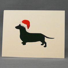 Holiday Dachshund Christmas Card Single Greeting by doggydesign