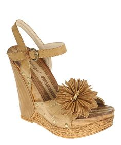 Another great find on #zulily! Camel Flower Deep Wedge Sandal by Reneeze #zulilyfinds