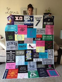 T-shirt quilt that is not even blocks and rows. This is what I want my t-shirt quilt(s) to look like when I finally make them. I'd love to do a combo of both our old college t-shirts. by batjas88