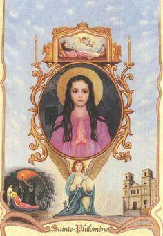 Philomena, pray for us! Catholic Doctrine, Catholic Art, Catholic Saints, Roman Catholic, Religious Art, Faith Of Our Fathers, Vintage Holy Cards, Religious Pictures, Medieval Art