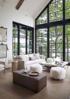 Dreamy rustic-modern lake house with sweeping vistas of Lake Joseph This rustic modern lake house was designed by Anne Hepfer Designs, located along Lake Joseph, in Seguin Township, Ontario, Canada. High Ceiling Living Room, Big Living Rooms, Best Living Room Design, Home Living Room, Living Room Designs, Small Living, Apartment Living, Living Area, Modern Lake House