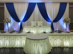Wedding backdrops by Mega City Group Wedding Stage Backdrop, Wedding Backdrops, Backdrop Decorations, Wedding Decorations, Alter Decor, Blue Wedding Receptions, Bridal Party Tables, Red And White Weddings, Head Tables