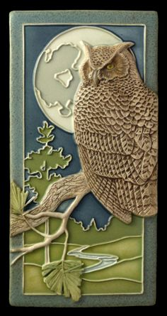 Ceramic tile, Night Owl, art tile, wall decor, sculpture,  4x8 inches by MedicineBluffStudio on Etsy