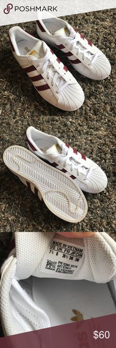81370349e119 Adidas Maroon and White Superstar Only worn once