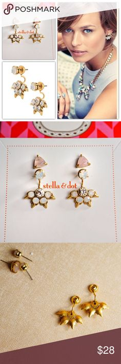 "Stella Dot Eva Ear Jacket Earrings Stud Brand new. Never worn. Only used for display.  This stylish silhouette is the hottest new trend in earrings. A total of 4 unique looks, the interchangeable stud sets can be worn alone, or with the sparkle burst ear jacket for a peek-a-boo statement - 4 looks in all!   1/8"" crystal stud, 3/8"" rose quartz stud, 1"" drop length. Feather weight. Vintage gold plating. Stella & Dot Jewelry Earrings"