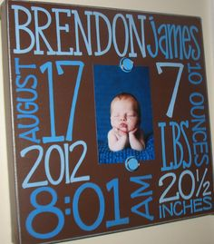 DIY Birth Announcement. This would be cute just printed out on cardstock with the pic in the middle