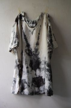 hand dyed upcycled enhabiten linen short sleeve top tunic by enhabiten on Etsy