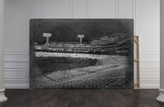Boston Red Sox Fenway Park Baseball Stadium Park Field Black And White Blueprint…