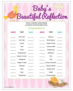Baby's Beautiful Reflection - guess which trait baby will inherit from which parent. Baby shower game also works for couples shower, too.