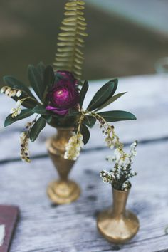 Bud Vase Idea - Will have approx 20 of these - Filled with ferns, other greenery, single flower with other compliments. Each of these can vary in colour given they will likely only have 1 main flower (deep reds, deep purples. creams, etc.)