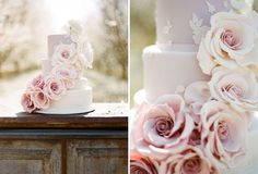Love the soft pink blush colour working tonally  on this cake.