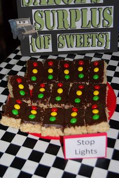 Crafty Teacher Mom: Disney Cars Birthday Party! Stoplight rice krispy treats