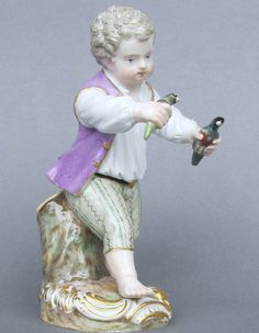 Meissen Model: F 23        Description: Boy Bird-Catcher   Modeled By: Michel Victor Acier ca. 1785   Mark: F 23       Painter Number: 60 - Gutkaes    Height: 4.7 in - 11.6 cm