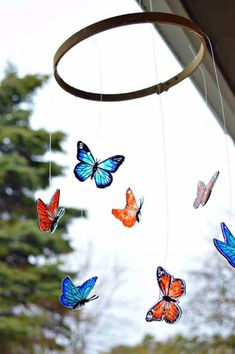 Shrink plastic and embroidery hoop butterfly mobile
