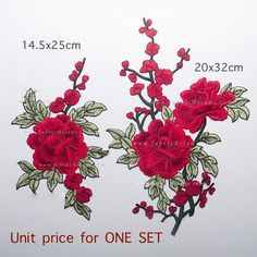Red Flower Patch Appliqué. This is an stitch-on applique. NO adhesive on the back. 700+ Craft Supplies on SALE. Ship worldwide.   ▲ ▼ APPLIQUE INFORMATION▲ ▼ Price for ONE SET (see photo 4) Size: 14.5x25cm + 20x32cm Model: LA100053   ▲ ▼ RELATED PRODUCT ▲ ▼  See this patch in Brown >> https://www.etsy.com/listing/470806655/  More Applique >> https://www.etsy.com/shop/fabricAsians?section_id=17168432  SILK Fabric Upto 15% OFF >&g...