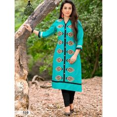 Arresting Sky Blue Color Cotton Kurti. This Kurti having Printed work with 3  4 c47c516f4