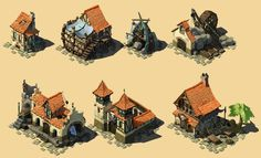 ArtStation - -assets for games-, Gaboleps (gabriel romero) Fantasy Village, Fantasy Town, Isometric Map, Isometric Design, Buildings Artwork, Architecture Drawing Plan, Medieval Games, Minecraft Medieval, Sims