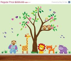 wall sticker decal owl giraffe squirrel flower tree kids children