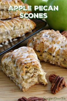 Apple Pecan Scones are full of little bits of apple, chopped pecans and then drizzled with glaze. Apple Pecan Scones are full of little bits of apple, chopped pecans and then drizzled with glaze. Apple Recipes Easy, Apple Dessert Recipes, Pecan Recipes, Brunch Recipes, Sweet Recipes, Breakfast Recipes, Delicious Recipes, Breakfast Scones, Scone Recipes