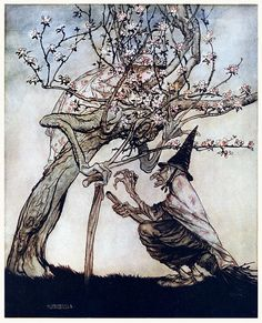 Tree of mine! O tree of mine! Have you seen my naughty little maid.    Arthur Rackham, from English fairy tales, retold by Flora Annie Steel, New York, 1922.
