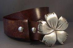 Vintage Brown Leather Belt, Snap Leather Belt, Womens Leather Belt, Silver Flower Buckle, Buckle for Belt, Custom Leather Belt