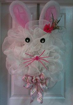 deco mesh ideas | Easter ideas / Precious bunny poly deco mesh wreath by Angel