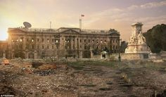 PlayStation programmers have taken British landmarks, such as Buckingham Palace (cente), and doctored them to illustrate what would happen if there were no humans left to care for them in their game