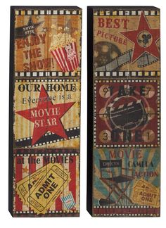 Movie Theater Wall Decor metal wall art movie theater home decor movie reel. $29.99, via