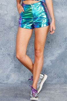 Holographic Dreams Cuffed Shorts - LIMITED ($110AUD) by BlackMilk Clothing
