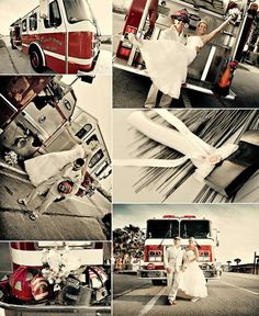 Firefighter Wedding Photos... IF a firefighter happens to be in my future.. this would be so cute!