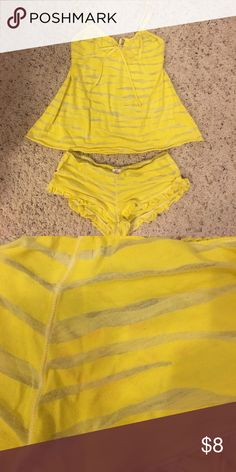 Free People PJ's These have barely ever been worn. They are extremely comfortable and the yellow color is very vibrant. Please note: the bottoms are a size small and the top is a medium also, there is a slight red discoloration on the butt. (Price reflects) Free People Intimates & Sleepwear