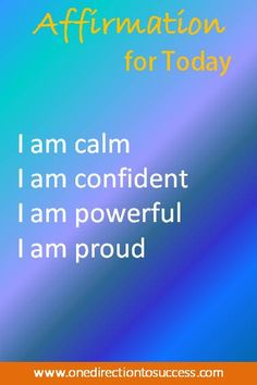 Use this affirmation today to create a sense of calm, confidence and gratitude http://www.onedirectiontosuccess.com