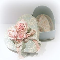 Shabby Chic Decor, Shabby Chic Lace Box, Heart  Box, Lacy Box, Cottage Chic Box, Shabby Chic Box, Roses, Cottage Chic Decor, Decorated Box