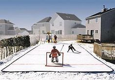 """Home Ice Rink: Built a frame out of 4"""" drainage pipe, bought a big 40'X80' tarp off ebay and added water.  Now if I only had a zamboni..."""