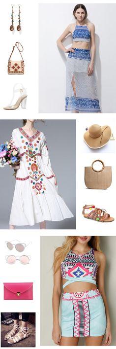 #summer outfits#boho style#dress ideas#retro look  Fairy  Lady  Elegant Organza  Printed   Dress  outfits +Boho  Crossbody Bag+Embroidery Maxi Dress+Sun Hat+Beach Sandals+Sunglasses