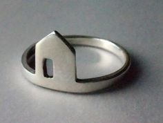 little silver house ring  Size 5 by StudioMegLA on Etsy, $55.00