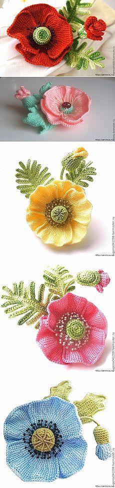 Объемные цветы в тунисской технике и идеи их применения — Рукоделие