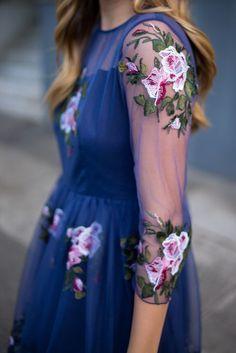 Floral dress, transparent sleeves. Latest arrivals 2016.
