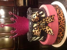 Change out leopard for silver bow, make brown stripe to black and use darker pink and we have a winner! :)