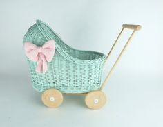 Wiklibox wicker & alder wood doll stroller in MINT colour with soft muslin bedding. Many colours available. Baby walker by WIKLIBOX on Etsy Dolls Prams, Mint Color, Bassinet, Wicker, Little Girls, Colours, Etsy, Handmade Gifts, Bedding