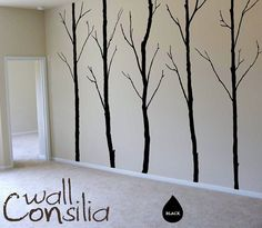 "Winter Trees Decal - Tree Wall Decal Wall Sticker - Tree Decals - Large: approx 96"" x 125"" ( whole composition)"